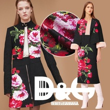 Jacquard floral pattern,black white,printed rose couture fashion fabric,sew for top,jacket,coat,dress,pants,craft by 145cm*96cm