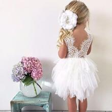 infant toddler girls delicate lace cake dress children princess backless tutu party gown 1st birthday vestido summer clothes(China)