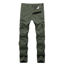 2017 Dropshipping High Quality Men's Cargo Pants Casual Pant Multi Pocket Military for Men Long Trousers Plus size(China)
