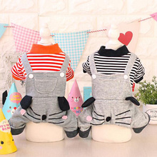 Fashion pet dog cat strip cartoon jumpsuit clothes doggy autumn winter tracksuit costume puppy hoodies dogs cats coat 1pcs