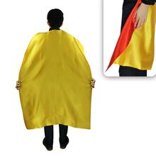 140cm Adult reversible double layer yellow cape superhero costume+ 2 face masks for men cosplay dress up party costume(China)