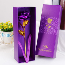 24K Golden Rose Flower With Box Wedding Festive Party valentine gifts Elegant Romantic High quality(China)