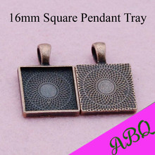 16MM Antique Copper Square Pendant Blanks, 16mm Square Pendant Tray Setting, 16mm Cabochon Bezel Setting(China)