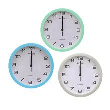 Charminer Retro Vintage Round Silent Sweep Movement Quartz Wall Clock Home Bedroom Decor Blue Silver Green(China)