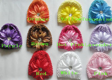 50pcs child waffle caps crochet hats hair flowers clips beanie with lily peony flower girl stretchy caps MZ9111(China)