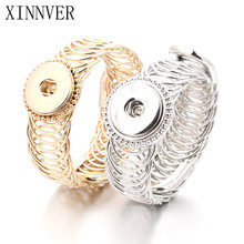 Gold Silver 2 Colors Direct Selling Sterling Jewellery Bracelet For Woman Snap Button Jewelry(Fit 18mm 20mm snap) ZE052(China)