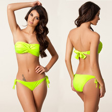 Bandeau Bikini Bathing Swimwear Woman Swimsuit Twisted Neck Halter Push up Foam Cup Sexy Bandage Blue 7 Colors HQDM060