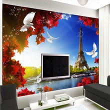 Free Shipping Eiffel Tower Leaf 3D France Landscape bedroom custom mural high quality bedroom hotel wallpaper