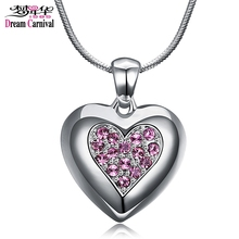DreamCarnival 1989 Pink Crystals Heart Pendant Necklace for Women Flash Deal Sales Party Jewelry parure bijoux femme Snake Chain(China)