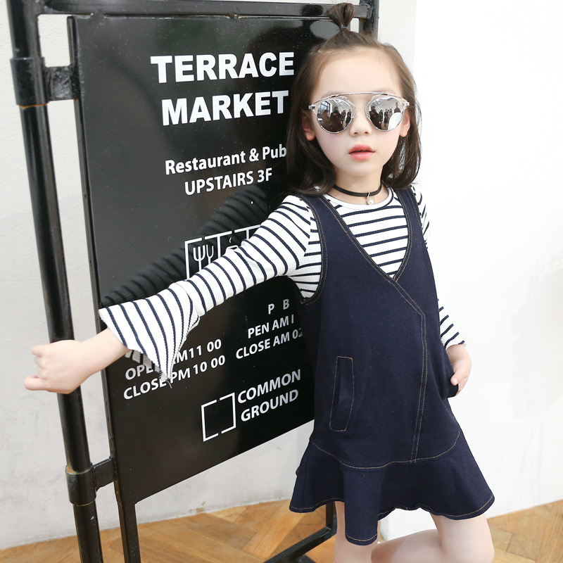 Childrens Garment Girl Cowboy Stripe Horn Cuff Dress 2017 Spring And Autumn New Pattern Straps Skirt + Stripe 2 Pieces Kids<br>