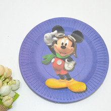 10pcs 7 inch mickey mouse party Plate And Blue Mickey Party Decoration Festival Baby Shwor Favor Mickey Mouse Party