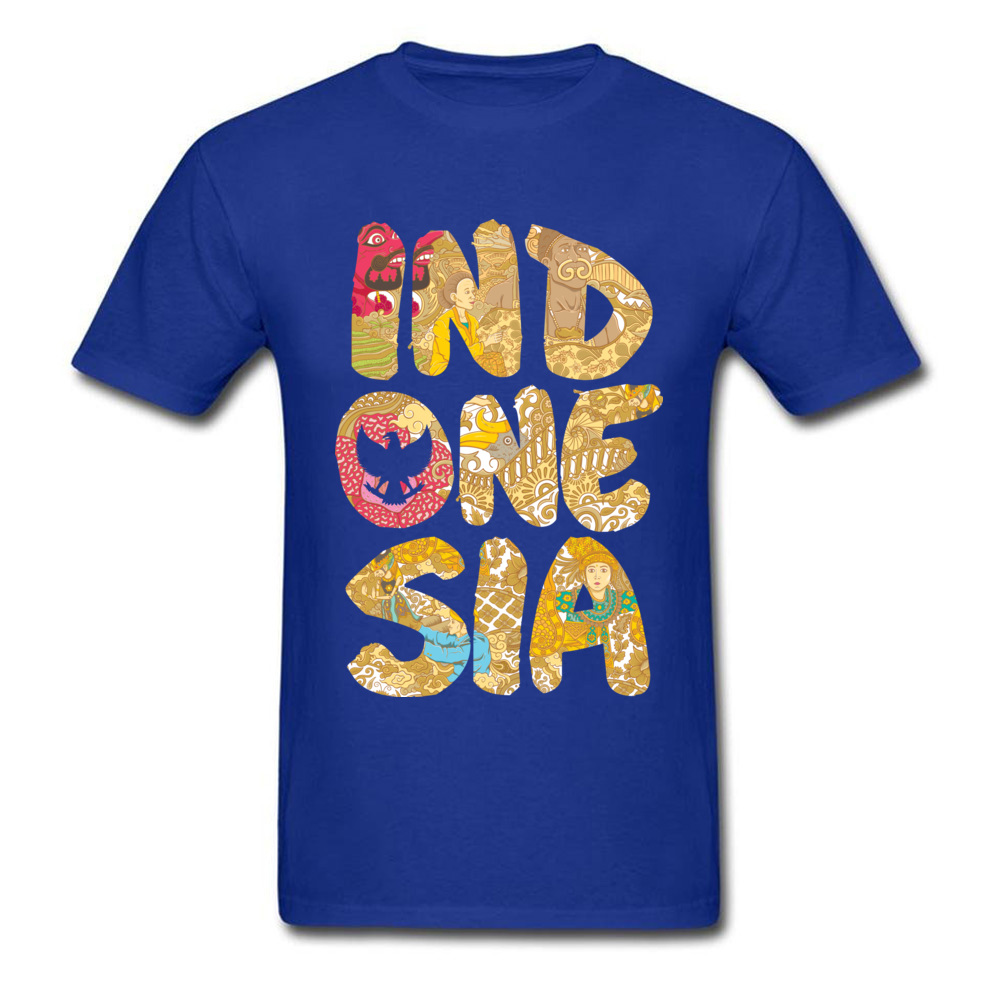 INDONESIA FONT Summer Fall All Cotton O-Neck Tops T Shirt Short Sleeve Summer Tops Shirts Prevailing Printed On T-shirts INDONESIA FONT blue