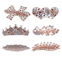 1PC Popular Fashion Women Girl Crystal Drill Barrette Heart  Peacock Crown Butterfly Barrettes Party Hair Clip Hair Accessories
