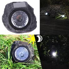 4 LED Solar Powered Rock Stone Lights Waterproof Garden Yard Lawn Landscape Lamp Spotlight Decorative for Outdoor(China)