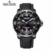 Reef Tiger/RT Super Luminous Automatic Watches for Men Black Steel Nylon Strap Dive Watch with Date RGA3035(China)