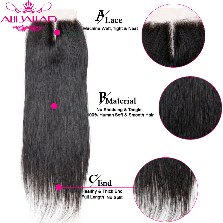 Aliballad Brazilian Straight Middle Part 4x4 Lace Closure 10-20 Inch Non-Remy Hair Natural Color 100% Human Hair Free Shipping7