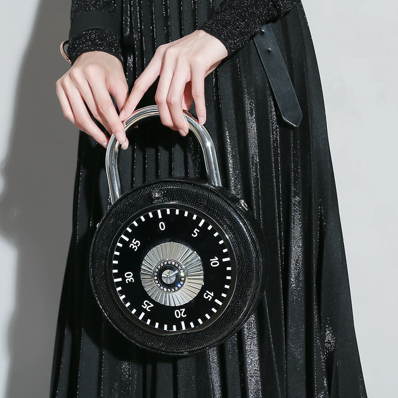 Personalized fun fashion clock shape pu leather circular ladies handbag chain shoulder bag crossbody messenger bag purse 2 color<br>