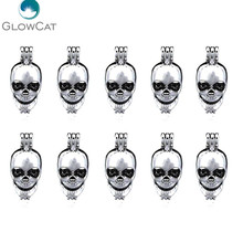 K60 Punk Skeleton Locket Charms Pearl Bead Cage Perfume Pendant For Unisex Bangle Necklace Jewelry Making(China)