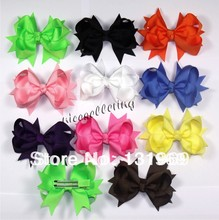 "3.5"" 10 pcs/lot  Girl  Toddlers Grosgrain Ribbon for Hair bows boutique hair clips love design accessories A"