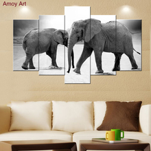 large 5 piece canvas art black white african elephant animal oil painting wall Pictures for living room decor wall art prints(China)