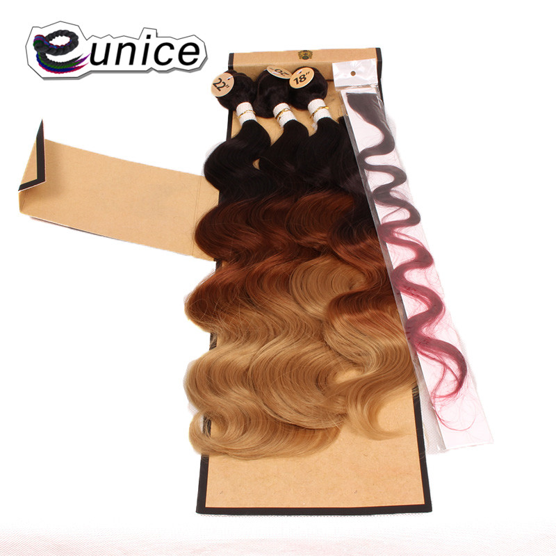 Hair-Extensions Package Weave Bundles Closure Synthetic-Hair Body-Wave Eunice with 18-20-22-High-Temperature title=