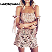LadySymbol Off Shoulder Lace Arm Bow Tie Dress Women Elegant Sexy Pink Backless Casual Dress Summer 2017 Short Mini Party Dress