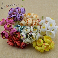 6pcs Silk Big Rose Bud Artificial Flower Bridal Bouquet Headdress Brooch Artificial Decoration diy Wreath Material