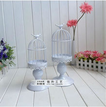 a set/ 2pcs fashion decoration white birdcage candle holder wedding candelabra candle lantern bird cage decoration ZT104(China)