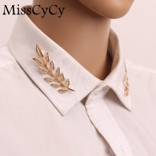 MissCyCy 2016 New Wedding Jewelry Suit shirt Collar Pin Gold Color/Silver Leaves Brooches Pins For Women(China)