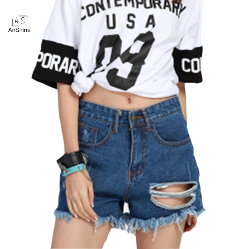 AnShine Jeans Shorts Plus Size Female Summer European Style Loose Casual Hole  Hot Pants Beggar PantsОдежда и ак�е��уары<br><br><br>Aliexpress