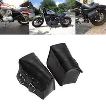 Partol 2x Black PU Metal Buckle Motorcycle Bags Saddle Bag Moto Luggage Bag For Harley Sportster XL 883 1200 Both Rear Sides(China)