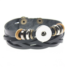 Buy Wholesale Hot Original Genuine Leather 18mm Snap Button Bracelet Interchangeable Charm Jewelry Women Men for $1.23 in AliExpress store