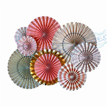 10 Sets (80pcs) Trend Pinwheel Backdrop Paper Rosette Wedding Background Giant Paper Fans Anniversary Party Decoration Flowers(China)