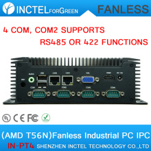 Fanless IPC Embedded Computer with AMD T56N 4 COM 2 Gigabit Lan Low power DC 12V COM2 supports RS485 RS422 features