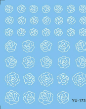 Water Transfers Stickers Nail Decals Stickers BLACK &WHITE GREY FLOWER ROSE YU168-173