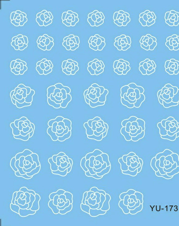 Water Transfers Stickers Nail Decals Stickers BLACK &amp;WHITE GREY FLOWER ROSE YU168-173<br><br>Aliexpress