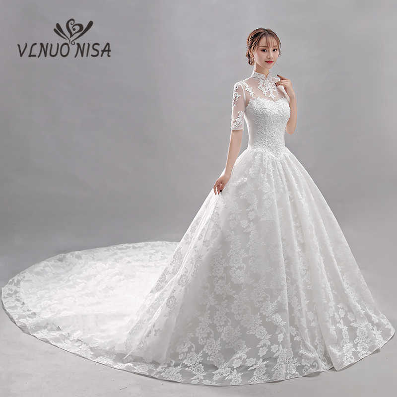 Detail Feedback Questions about Hot Sale Royal Train Wedding Dress VLNUO  NISA Elegant High Neck Lace Up Bridal Ball Gown Delicate Lace Bridal Dress  35 on ... 9c34c8a0a2b3