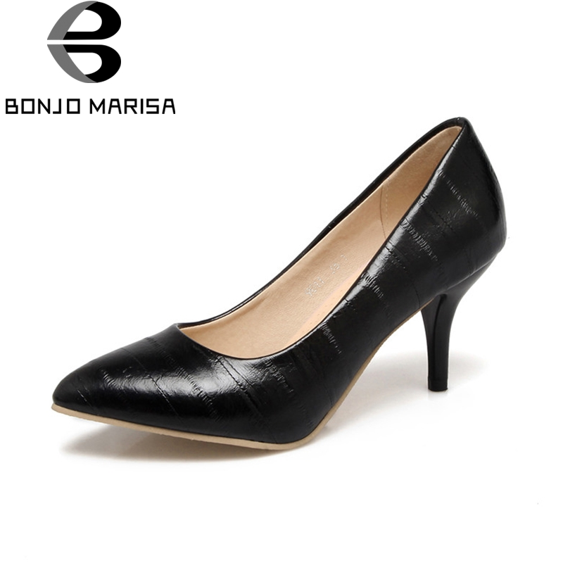 BONJOMARISA Womens Patent Pointed Toe Thin High Heel Office Wedding Shoes Woman Slip On Less Pumps Big Size 31-46<br>