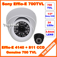 HD 1/3'' Sony CCD Effio-E 700tvl 24leds IR indoor 960H Security CCTV dome camera surveillance camera free shipping