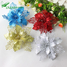 5pcs Christmas Simulation Flowers 16cm Artificial Flowers Real Touch Flowers for Family Parties Wedding Decorative  Natal-B
