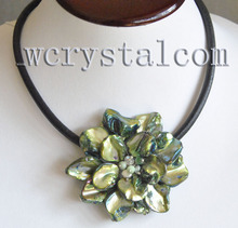 Green MOP Shell &  Different Beads Crystal One flower pendant Necklace Black Leather
