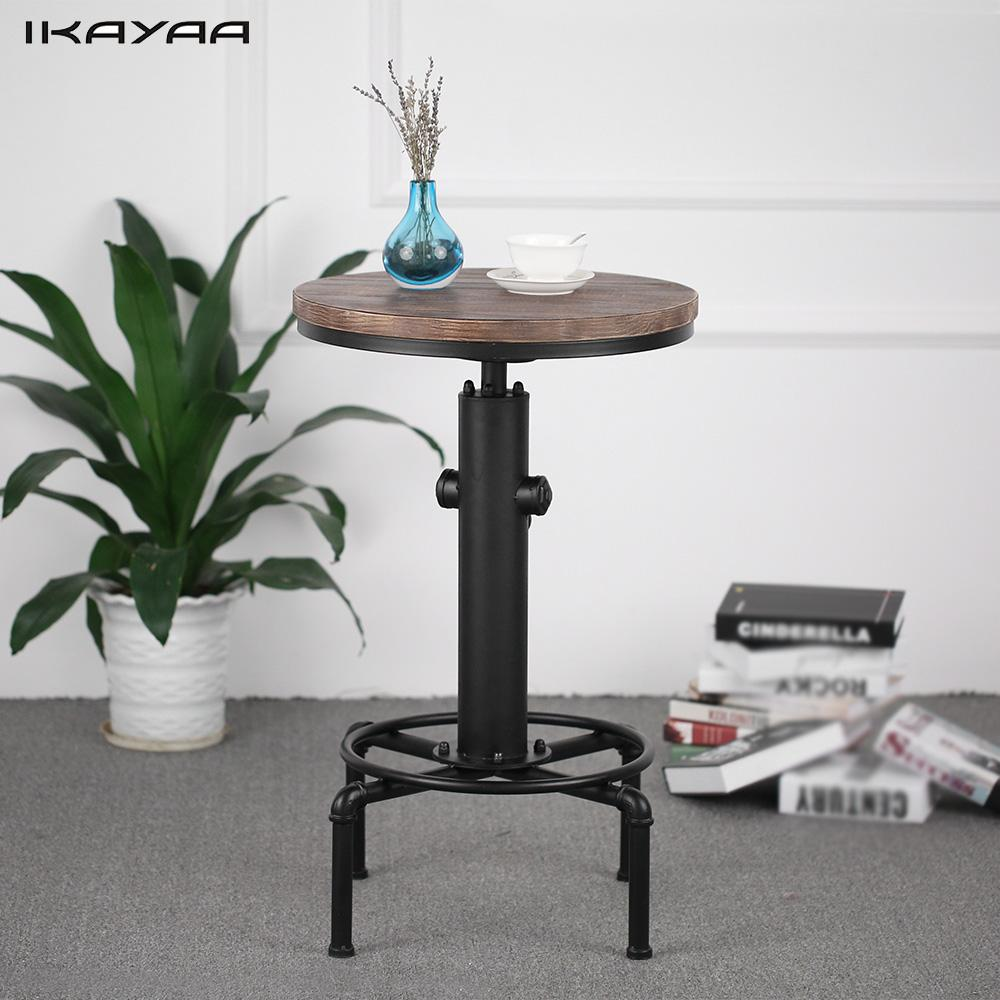 IKayaa Pinewood Top Round Pub Bar Table Height Adjustable Swivel Counter  Table Industrial Pipe Style Table
