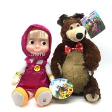 Russian Language Masha And Bear Electronic Pets Talking Musical Dolls Masha e Orso Stuffed Plush Toys Baby Doll Gift For Kids(China)