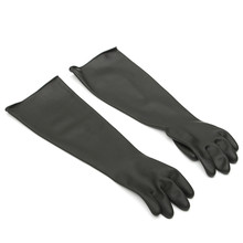 NEW 1 Pair Emulsion Chemical Resistance Industry Elbow Long Rubber Gloves Acid Chemical Midoni Security Safely Black