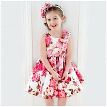 Retail 2016 New Summer dress for girls Beautiful girl rose princess sleeveless dresses children's dresses