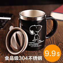 Snoopy 420ml Coffee Teacup Drink Flask Water Tumbler Office With Cover Black Stainless Steel Water Mu(China)