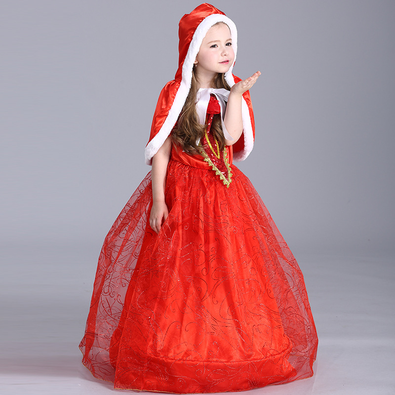 Toddler Girls Halloween Christmas Festival Cosplay Solid Red Show Stage Performance Princess Short Sleeve Lovely Costume Dress<br><br>Aliexpress