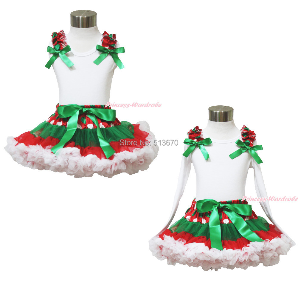 XMAS Red Green White Dots Ruffle Bow White Top Pettiskirt Baby Girl Outfit 1-8Y MAPSA0039<br>