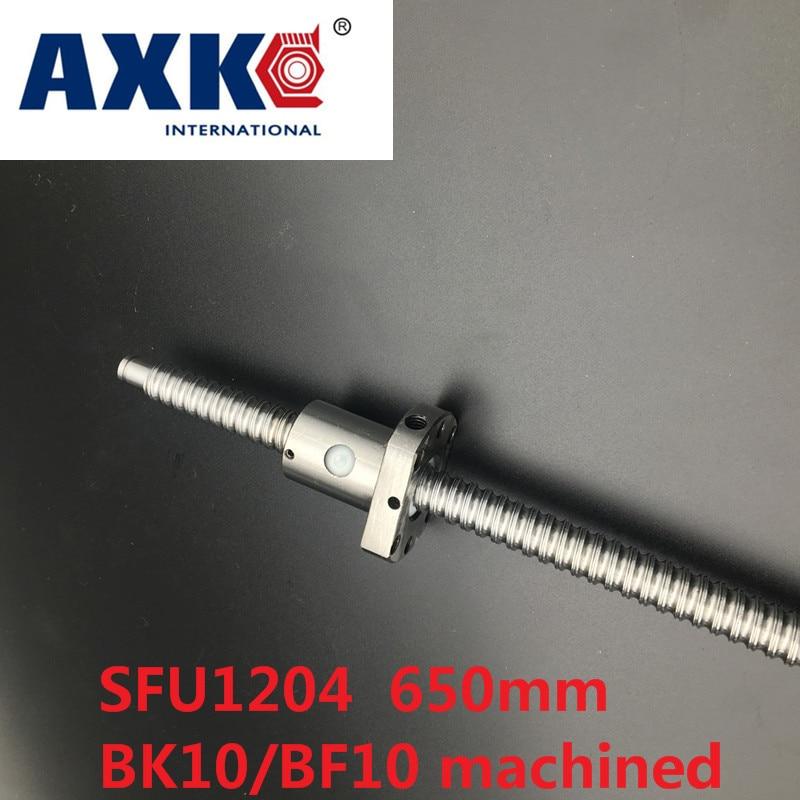 AXK Free shipping 1pc Ball screw SFU1204  650mm+ 1pc RM1204 Ballscrew Ball nut with standard processing for BK10 / BF10<br>