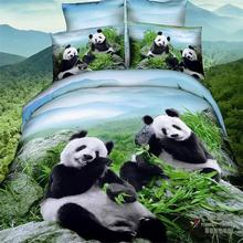 2015 New Arrivals 3d Panda Green Bamboo Blue Sky Bedding Set Queen Size 100% Cotton Fabric Duvet Cover Set Bed Sheets Pillowcase(China)